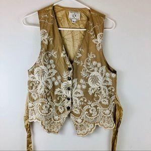 Embroidered ICE vest tie back sz M